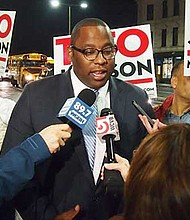 District 7 City Councilor Tito Jackson speaks to reporters in Dudley Square on the eve of Tuesday's election.