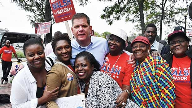 Mayor Martin Walsh and supporters. Walsh's campaign workers say they knocked more than 150,000 doors.