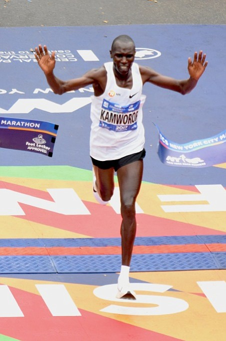 Soon after victoriously breaking the tape at the finish of the TCS New York City Marathon this past Sunday, Geoffrey ...