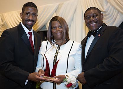 President of Kappa Community Development Corporation, Erik J. Burrell with award recipient and Educational Leader, Therapist and Motivational Speaker, Dr. Nataki Chestnut and Burlington-Camden (NJ) Alumni Chapter of Kappa Alpha Psi Fraternity, Inc., Polemarch, Richard Horton, III.