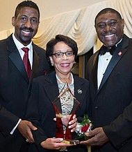 President of Kappa Community Development Corporation, Erik J. Burrell with award recipient and Executive Vice President and Provost, Temple University, Jo Anne Epps and Burlington-Camden (NJ) Alumni Chapter of Kappa Alpha Psi Fraternity, Inc., Polemarch, Richard Horton, III.