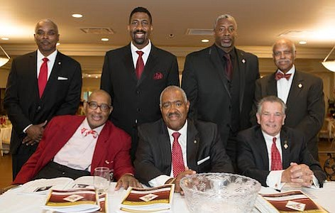 Members of the Burlington-Camden (NJ) Alumni Chapter of Kappa Alpha Psi Fraternity, Inc. (Standing, L-R) Board Member and Guide Right Director, James Foggie, President of Kappa Community Development Corporation, Erik J. Burrell, and Vice Polemarch, Larry McSeed (Sitting, L-R) Art Davis, Ron Johnson and William Wright.