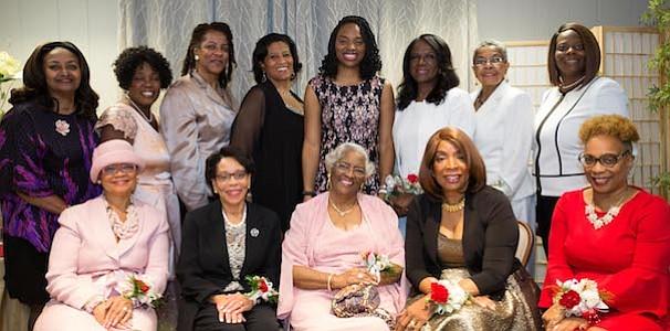 "The Burlington-Camden (NJ) Alumni Chapter of Kappa Alpha Psi Fraternity, Inc., &  Kappa Community Development Corporation honored thirteen African American Women of High Achievement on Sunday, November 5, 2017 (Standing, L-R) Dr. Edith ""Edie"" M. Simpson, Minretta Boone McFadden, Rachel Merrill, Tracy Bond, Ebony D. Wortham, Esq., Elleanor Jean Hendley (Mistress of Ceremonies), Mable Ellis Welborn and Dr. Natakie Chestnut (Sitting, L-R) Lorina Marshall-Blake, JoAnne Epps, Colletta King, Elayne P. McClaine and Leslie A. Anderson."