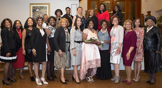 Members of the Theta Pi Omega Chapter of Alpha Kappa Alpha Sorority, Inc. attended the event in support of their sister and honoree Minretta Boone McFadden (Center holding bouquet of Flowers)