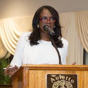 Mistress of Ceremonies for the Burlington-Camden (NJ) Alumni Chapter of Kappa Alpha Psi Fraternity, Inc., and  Kappa Community Development Corporation's 14th annual African-American Women Achievers' Banquet, Elleanor Jean Hendley.