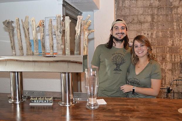 Andrew and Melissa Polykandriotis owners of Elder Brewing Co. in Joliet.