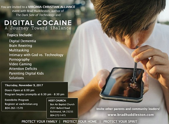 "The Virginia Christian Alliance is sponsoring a seminar, ""Digital Cocaine: A Journey Toward iBalance,"" at 6:30 p.m. Thursday, Nov. 9, ..."