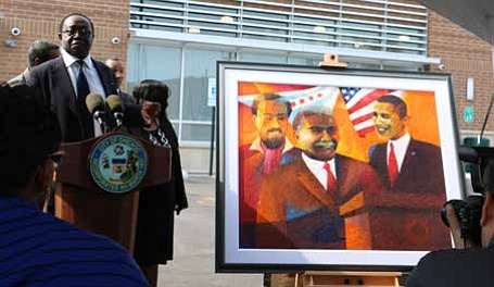 The painting depicts the three men who helped set the stage for black success in Chicago and the importance of ...
