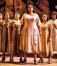 "Carrie Compere (Sofia) and the North American tour cast of ""The Color Purple."""