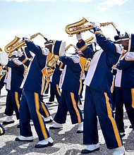 Prairie View A&M University Marching Storm saxophone section.