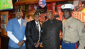 State Senator JamesSanders Jr. was joined by many veteran leaders, including Chaplain Ed Davis of the Rosedale American Legion (left),Shamel Lawrence Sr., commander of the Rosedale American Legion and the Queens County vice commander of the American Legion andLee Blackmon, immediate past commander of the Rosedale American Legion.