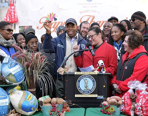 Last Friday, Brooklyn Borough President Eric L. Adams distributed 15,000 pounds of food, including turkeys and healthy trimmings, to more ...