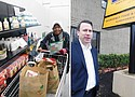 Linda Colbert (left) is thankful to pick up some free groceries and clothes to help her family through difficult times on the opening day for a new permanent food pantry and clothing depot at 12436 S.E Stark St. operated by the Portland Police Bureau's Sunshine Division. Kyle Camberg, executive director of the Portland Police Bureau's Sunshine Division, opens a second location at Southeast 124th and Stark to distribute free groceries and clothes to disadvantaged residents.
