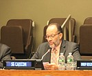 CARICOM secretary-general, Ambassador Irwin LaRocque, presenting remarks. Also at the head table are United Nations Development Program administrator Achim Steiner (L) and director of UNDP's Regional Bureau for Latin America and the Caribbean, Jessica Faieta.
