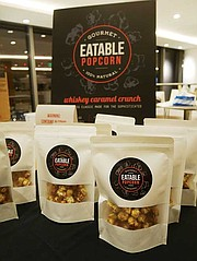 Vincent Li's alcohol-flavored Eatable Popcorn won second place in the pitch competition.