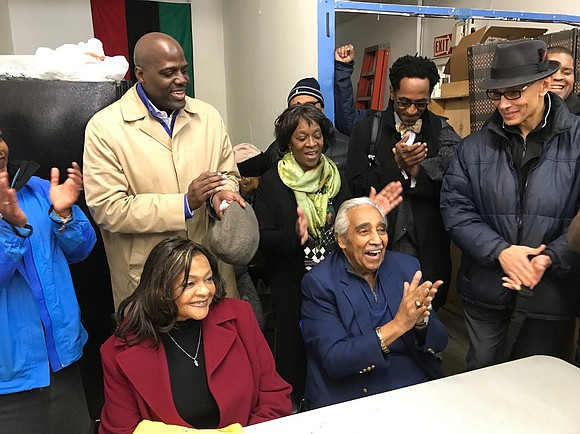 Assemblywoman Inez E. Dickens and the Honorable Charles B. Rangel were joined at the MLK Democratic Club by a crowd ...