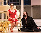 Melissa Miller stars as Elmire and Brett Gelman stars as Tartuffe in the Huntington Theatre Company's production of the Molière play.