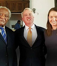 Congressman Danny Davis (left), recently endorsed Illinois Democratic Candidate for Governor Chris Kennedy (center) and his wife, Sheila Kennedy (left), who both manage Top Box Foods, a hunger-relief non-profit organization they founded to deliver high-quality, healthy and affordable foods to underserved