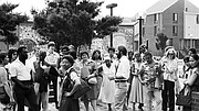 Previous IBA executive director Jorge Hernandez giving tour of Villa Victoria. [ca. 1975-1985]