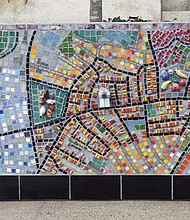 A mosaic map of Hyde Square.