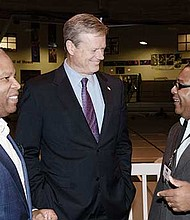 Ron Walker of Rasky Partners and Governor Charlie Baker with BASE Founder Robert Lewis, Jr.