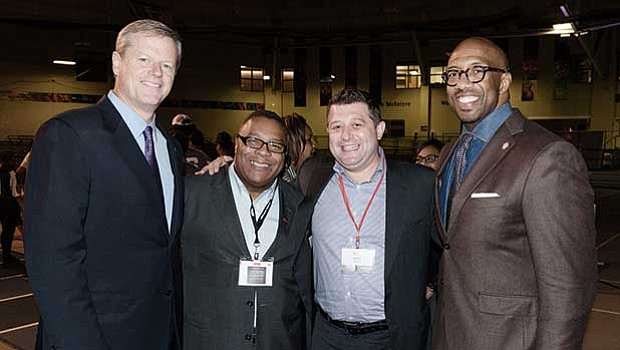 Governor Charlie Baker, Robert Lewis Jr., Fred Starikov of City Realty Group and Michael Sorrell, president of Paul Quinn College.
