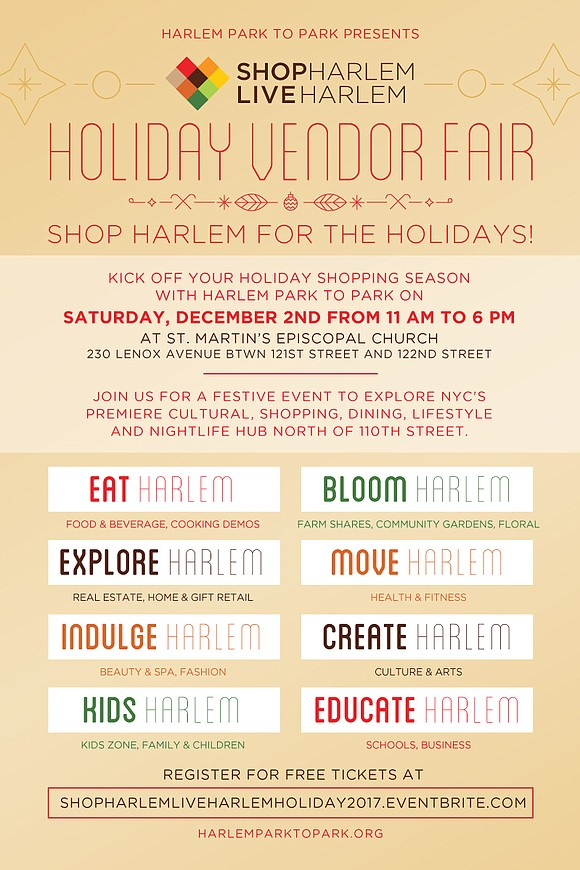 Santa Claus is coming to Harlem at Harlem Park to Park's Holiday Vendor Fair. He, along with his trusty elves, ...