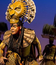"Gerald Ramsey as ""Mufasa"" in The Lion King, which runs through Dec. 10, 2017 at the Hippodrome."