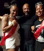 L-R Twelve-time World Champion Tori Nelson, Mack Allison III,  owner of the Time 2 Grind gym, and up and coming lady boxer Destiny Day-Owens.