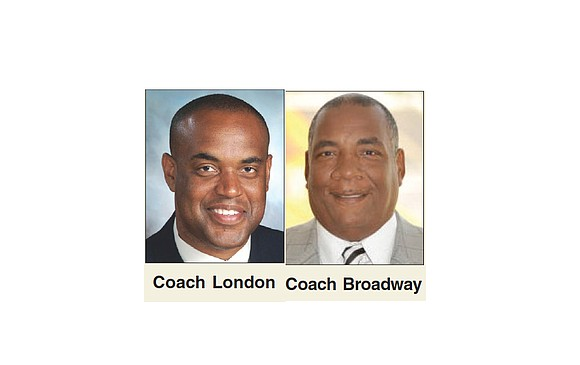 Coaches Michael London of Howard University and Rod Broadway of the MEAC football champions North Carolina A&T State University are ...