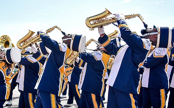 The Prairie View A&M University Marching Storm performs to millions at 91st Macy's Thanksgiving Day Parade representing the State of ...