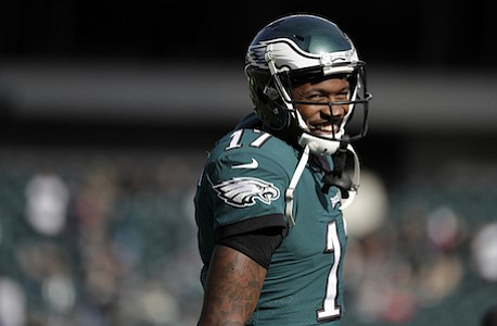 The Eagles have signed Alshon Jeffery to a four-year contract extension that runs through 2021. The deal announced Saturday, Dec. 2, 2017, is reportedly worth $52 million, with $27 million guaranteed. (AP Photo/Michael Perez, File)