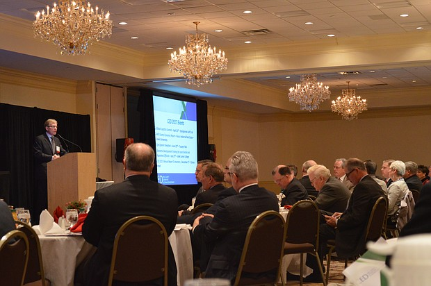 Will County CED CEO John Grueling addresses investors at its recent report in Joliet.
