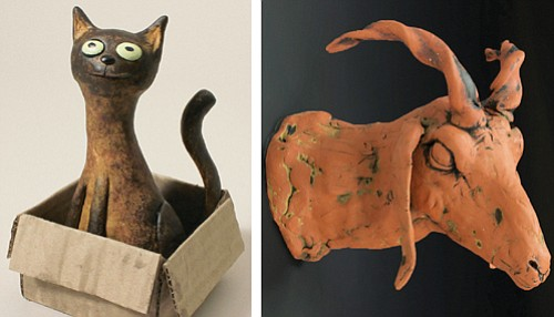 A ceramic piece by Cathi Newlin (left) and Gesine Kratzner's polymer clay piece will both be on display for Guardino Gallery's 'Little Things' show through Dec. 24.