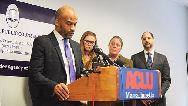 Carl Williams, staff attorney for ACLU, gives a statement at Nov. 30 press conference.