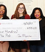 """Tia Myers, CEO of T.M. Gallery Photography created """"The Pink"""" fashion show to raise money for Breast Cancer and the proceeds were donated to Dana – Farber/Jimmy Fund. Myers presented the check to Megan Ingram, the representative of Dana-Farber/Jimmy Fund. (left-right) Donna Jules, Ayanna O'Brien, Ingram, Myers and Steve Lissaint."""