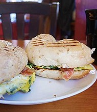Pastries and bagel-and-egg sandwiches are offered along with Ethiopian coffee.