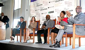 Tavis Smiley hosts The Future of Higher Education town hall meeting. Panelists from left: Texas State Representative Roberto Alonzo, Higher Education Committee Member; Angela Farley, Senior vice president of Workforce and Education – Dallas Regional Chamber; Nakia Douglas, executive director of South Oak Cliff Feeder Pattern; Elexis Evans, Paul Quinn College student; and Dr. Michael J. Sorrell, president of Paul Quinn College.