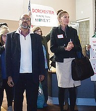 Demonstrators took over the floor during a BPDA Glover's Corner planning meeting, voicing concerns over rising rents in the Dorchester neighborhoods around the planning area.