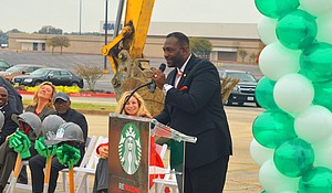 District 3 City Councilman Casey Thomas II speaks during the Starbucks groundbreaking at Red Bird Mall in Oak Cliff.