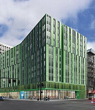 An artists' rendering of a proposed 240-unit affordable housing complex coming to the heart of the Lloyd District. The government-backed project won the backing of the Portland City Council last week, but just days later was showcased by the city as an example of federal financial supports for low income housing that may be lost due to tax legislation moving through Congress.