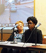 Jana Cephas speaks during a panel discussion.