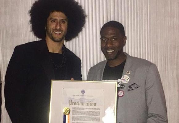 Council Member Jumaane D. Williams presented former NFL quarterback and civil rights activist Colin Kaepernick with a New York City ...