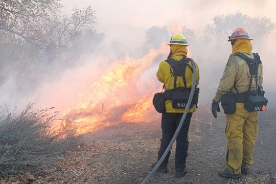 The Rye Fire, a four-day-old wind-driven blaze in Santa Clarita, was 15 percent contained mid..