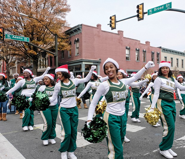 Henrico High School cheerleaders showed off a few moves, as did the high-stepping Hampton University drum majors, below right, who were leading the school's Marching Force.