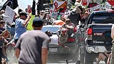 People fly into the air after being struck by a car that plowed into a crowd of counterprotesters at he Aug. 12 valley in Charlottesville. One person was killed and 19 others were injured. The driver, James A. Fields Jr., was charged with second degree murder.