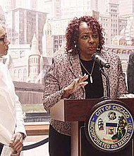 Illinois State Senator Jacqueline Collins (16th District), Illinois State Senator Mattie Hunter and Alderman David Moore held a press conference at City Hall, to express their concerns over the recent announcement of four Englewood school closings and the creation of a new $75 million high school. Photo Credit: Christopher Shuttlesworth