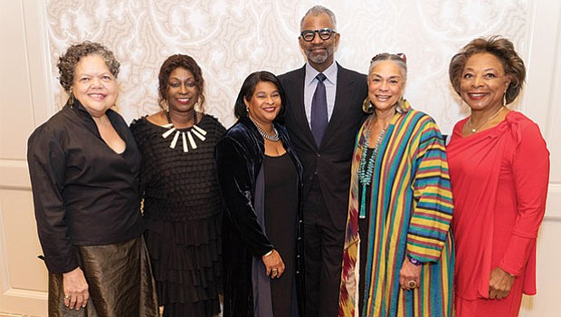 Celebrating at the Museum of African American History's 50th Anniversary and Living Legends Awards are (left – right) Marita Rivero, the executive director of the Museum of African American History; Colette Phillips; event co-chair Robyn Coles; honorees Tony Coles and Sara Lawrence Lightfoot and event co-chair Dr. Priscilla Douglas.