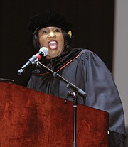 Commencement speaker Roslyn M. Brock offers advice to graduates during Virginia State University's Fall Commencement ceremony on Sunday