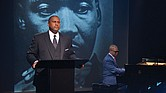 "PBS broadcaster and author Tavis Smiley, left, and renowned jazz pianist Marcus Roberts rehearse for the multimedia stage production, ""Death of a King: A Live Theatrical Experience,"" that will be in Richmond on March 22."